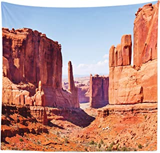 Lunarable National Parks Tapestry Queen Size, Grand Canyon Rock Formations with Redrocks Carved American Arizona Desert, Wall Hanging Bedspread Bed Cover Wall Decor, 88