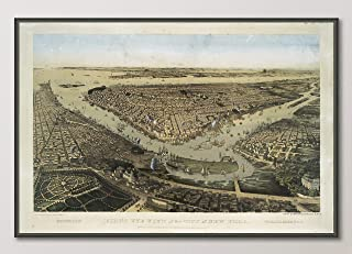 Vintage New York City Birds Eye View Map Reproduction Art Print from 1859, Unframed, Wall Art Decor Poster Sign, All Sizes