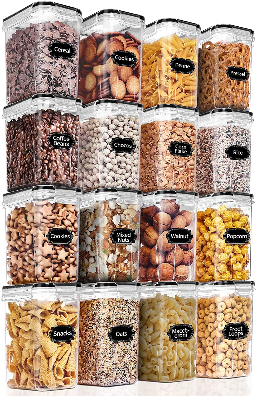PRAKI Airtight Food Storage Containers 16 Pieces 1.6L, Kitchen Pantry Organization and Storage - BPA Free Plastic Cereal Storage Containers for Cereal, Flour and Sugar - Lables & Marker, Black