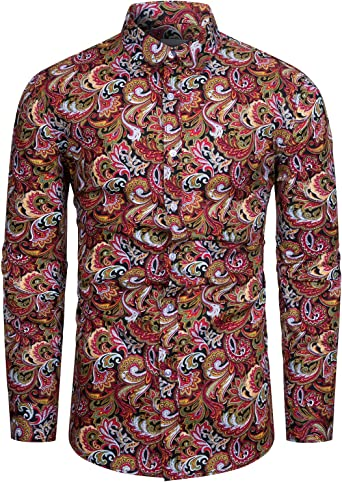 fohemr Camisa para Hombre de Corte clásico 100% algodón con Estampado Floral de Paisley