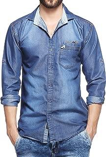Lafantar Men's Denim Slim Fit Shirt dms45gp-m_Blue_Medium