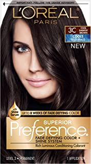 L'OrÃal Paris Superior Preference Fade-Defying + Shine Permanent Hair Color, 3C Cool Darkest Brown, 1 kit Hair Dye , 1 Count