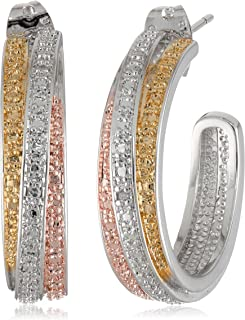 Tri-Tone Plated Bronze Diamond Accent C-Hoop Earrings