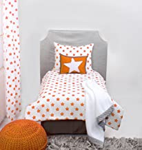 Bacati - Solid Tailored with Pleat Crib/Toddler Bed Skirt (4 pc Toddler Bedding Se, Orange)