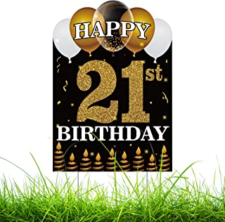 WATINC Happy 21st Birthday Yard Sign with Metal Stakes Double Sided Printing Large Waterproof Lawn Signs Gold White Balloo...