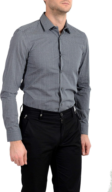 Hugo Boss Men's Isko Slim Fit Geometric Print Dress Shirt Sz US 17.5 IT 44 Blue/Gray