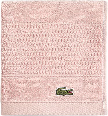 "Lacoste Legend 100% Supima Cotton Towel, 650 GSM, 13"" W x 13"" L Wash, Blossom Pink"
