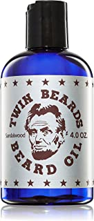 Twin Beards Sandalwood Natural Beard Oil for Men | Vitamin E for Healthy Skin Care | Conditions for a Soft & Full Beard | Sandalwood & Jojoba Oil | 4 Oz U.S.A …
