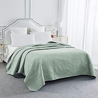 Sophia and William Bed Quilt Bedspread Coverlet - Reversible, Lightweight - Queen Size, Sage