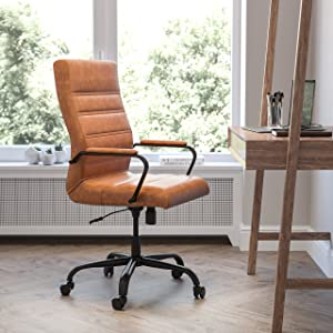 Flash Furniture High Back Desk Chair - Brown LeatherSoft Executive Swivel Office Chair with Black Frame - Swivel Arm Chair