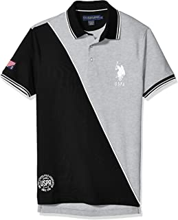 Men's Slim Fit Diagonal Color Block Polo Shirt