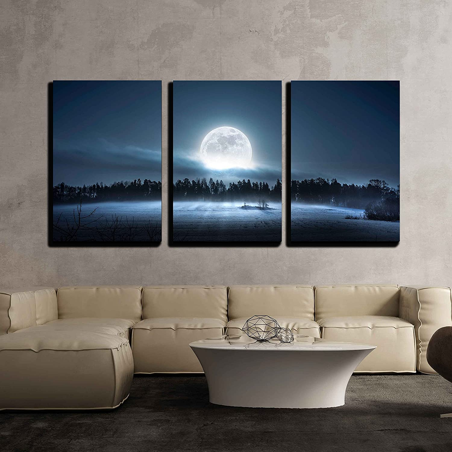 Wall26 - 3 Piece Canvas Wall Art - The Moon Rising Over The Forest and Meadow in The Cold and Misty Morning - Modern Home Decor Stretched and Framed Ready to Hang - 16 x24 x3 Panels