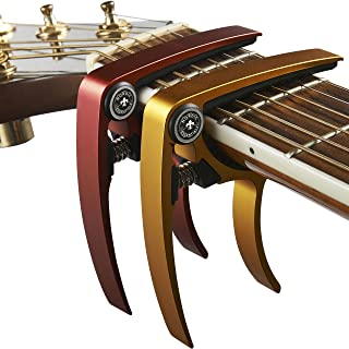 Best Guitar Capo (2 Pack) for Guitars, Ukulele, Banjo, Mandolin, Bass - Made of Ultra Lightweight Aluminum Metal (1.2 oz!) for 6 & 12 String Instruments - Nordic Essentials, (Red + Gold) Review
