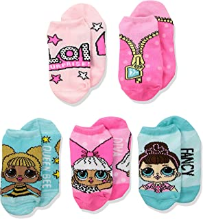 LOL Surprise! Girls' 5 Pack No Show Socks