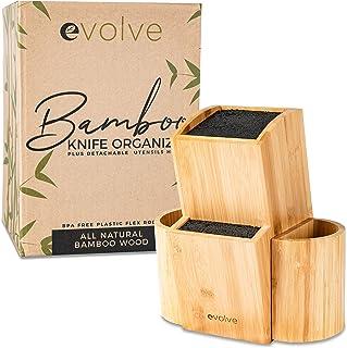 Evolve Bamboo Knife Block - Universal Kitchen Knife Holder - Safe & Space Saver Knife Storage That Covers Knife Blades Up ...