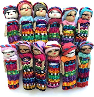 Mayan Arts Mini Decorative Worry Dolls, Handmade Cotton Dolls from Guatemala, 2 Inches, Party Favors Gift Ideas, Fair Trade