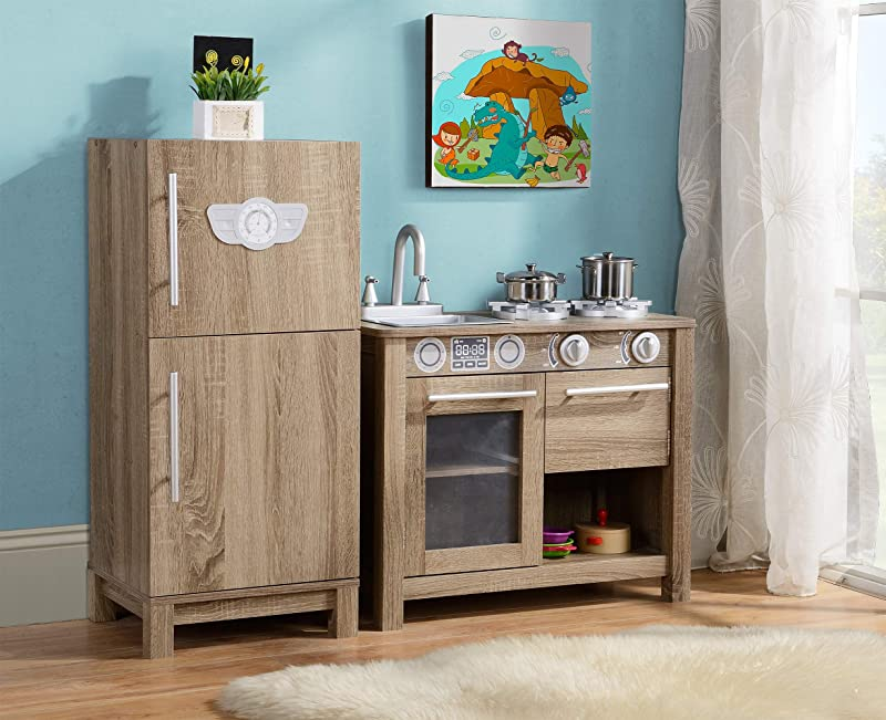 Homestar Z1710347 Coco Michelle Michelle Faux Wood Refrigerator Play Set Brown