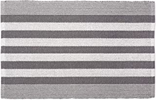 DII Contemporary Reversible Machine Washable Recycled Yarn Area Rug for Bedroom, Living Room, and Kitchen, 2'x3', Cabana Stripe Gray