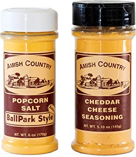 Amish Country Popcorn - BallPark Style ButterSalt (6 Oz) & Cheddar Cheese (5.1 Oz) Popcorn Seasoning - Old Fashioned with Recipe Guide - Nut Free
