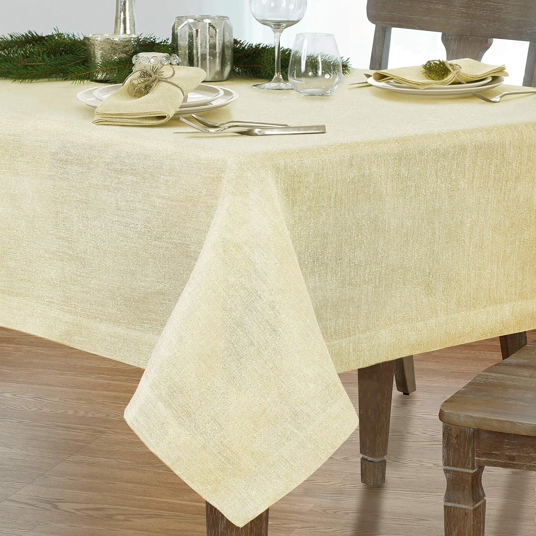Villeroy and Boch La Classica 70 x126  Oblong Tablecloth, 70  W x 126  L, Ivory Metallic gold