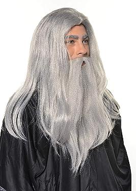 HalloweenAroundCorner.com Sorcerer Wizard Wig with Beard Grey