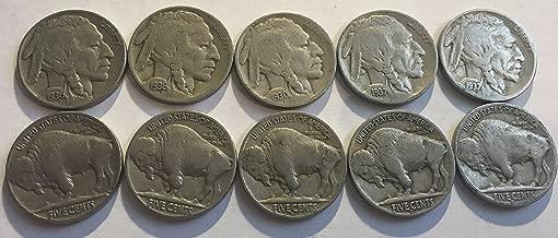 10 Varies Buffalo Nickels Dates 1930-1938 Fine Full Dates Come in Velvet Bag GREAT STARTER SET Good