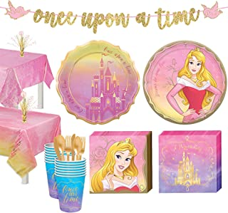 Party City Disney Princess Aurora Tableware Kit for 16 Guests, Includes Cups, Cutlery, Napkins, Plates, and Decor