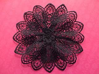 Handmade black lace doily head cover Kippah Yarmulke Veil Hair Covering (with attached comb) (Style 131) Elegant Doily Exclusive
