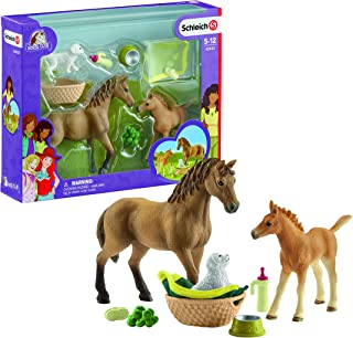 Schleich Horse Club Sarah's Baby Animal Care Figurine Toy Play Set, Multicolor