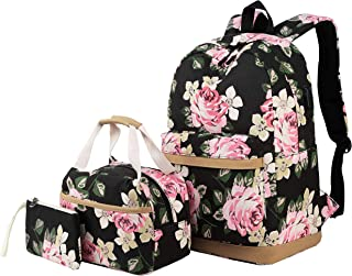 Backpack for Girls Teens High School and College, Bookbags +Lunch Bag + Pencil Case, 3 Bags in 1 (3 in 1 Backpack Sets Black)
