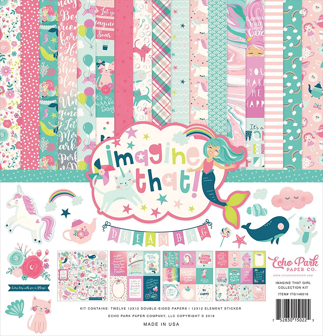 Echo Park Paper Company Imagine That Girl Collection Kit, None
