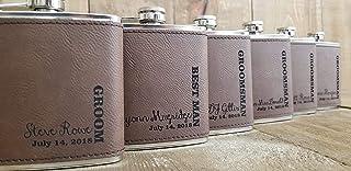 Custom Laser Engraved Leather Groomsmen Flasks