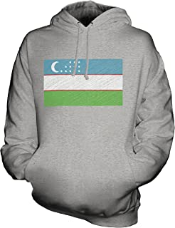 CandyMix Unisex Uzbekistan Scribble Flag Mens/Womens Hoodie, Size 4X-Large, Color Grey Marl