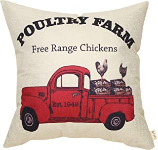 Fjfz Rustic Farmhouse Decor Poultry Farm Vintage Red Truck Chicken Farm Spring Summer Sign Country Decoration Gift Cotton Linen Home Decorative Throw Pillow Case Cushion Cover for Sofa Couch, 18