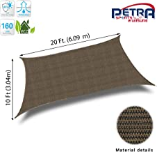 Petra's 20 Ft. X 10 Ft. Rectangle Sun Sail Shade. Durable Woven Outdoor Patio Fabric w/Up to 90% UV Protection. 20x10 Foot. (Brown)