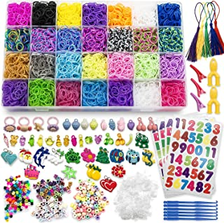 Nicpro 11800+ Rainbow Looms Kit ,Rubber Band Bracelet Making for Kid DIY Craft Party, 11000 Rainbow Loom Bands 28 Colors, 54 Lovely Charms,210 Beads,10 Backpack Hooks and More
