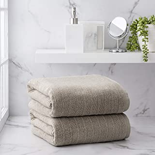 Welhome James 100% Cotton 2 Piece Bath Sheets | Flax Brown | Stripe Textured | Supersoft & Durable | Highly Absorbent & Qu...