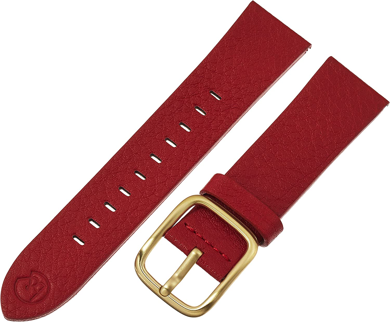 Elegant bnd by Hadley-Roma Raleigh Mall with Mode Red Watch Leather Genuine Ban 22mm
