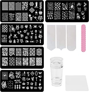 Lifestyle-You™ Nail Stamping Kit with 5 Rectangular Steel Image Plates & Silicone Stamper & Scraper