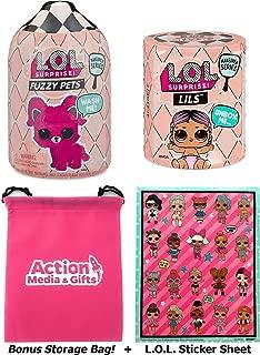 LOL Surprise Dolls Gift Bundle Includes (1) Fuzzy Pets + (1) Lils Makeover Series 5 + (1) L.O.L. Sticker Sheet + Bonus Action Media Storage Bag!