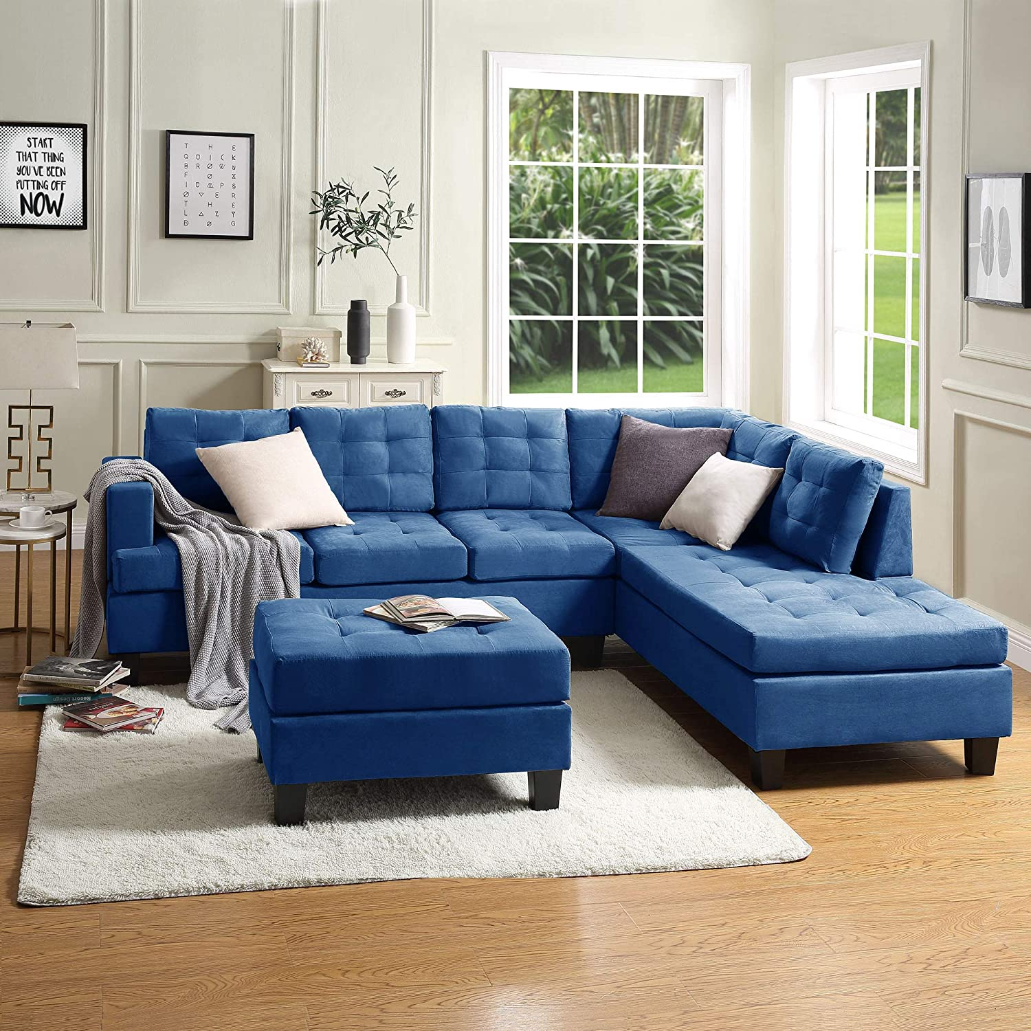 Meritline Fabric Sectional Couch For Living Room 4 Seater Sofa Set L Shaped Sofa With Tufted Storage Ottoman And Chaise For Small Space Use Blue Furniture Decor