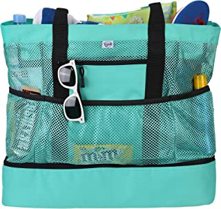Beach Tote Bag For Women with Picnic Cooler and Top Zipper — Extra Large Beach Bag, Mesh Tote Bag or Pool Bag [Aquamarine]
