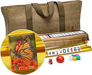 Yellow Mountain Imports American Mahjong Set, Papillon Tiles with Olive Green Soft Case - All-in-One Racks with Pushers, Dice, Wind Indicator & Wright Patterson Scoring Coins