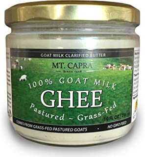 Goat Milk Ghee by Mt. Capra | Grass Fed Clarified Butter High in MCT Oil Perfect for Bulletproof Coffee, Keto, Paleo, and Whole 30 Diets | Pastured, Unsalted and Lactose Free | (10 fl oz)