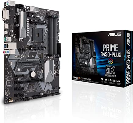 ASUS B450 AMD Ryzen 2 ATX Gaming Motherboard AM4 DDR4 HDMI DVI M.2 USB 3.1 Gen2 (Prime B450-Plus)