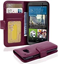 Cadorabo Book Case Works with HTC ONE M9 in Bordeaux Purple – with Magnetic Closure and 3 Card Slots – Wallet Etui Cover Pouch PU Leather Flip