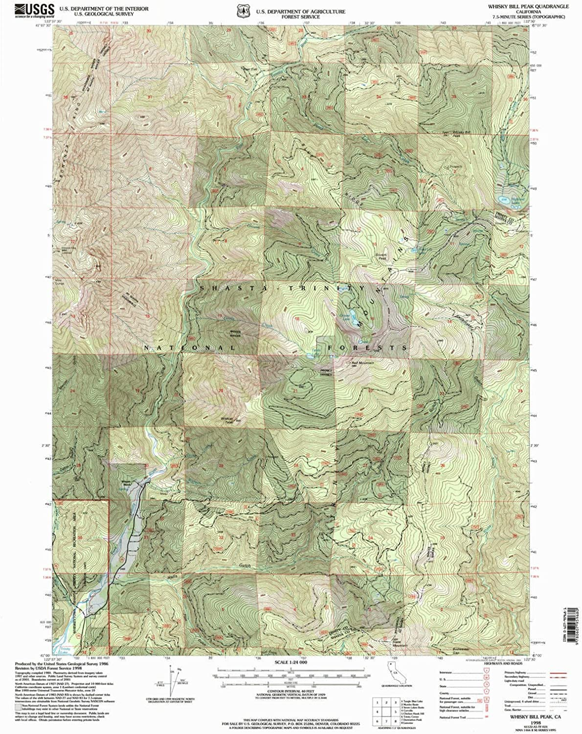 Whisky Bill Peak CA topo map, 1 24000 Scale, 7.5 X 7.5 Minute, Historical, 1998, Updated 2003, 26.7 x 21.4 in