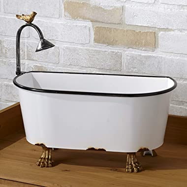 Vintage Style Mini Bathtub Planter with Enamel Finish - Indoor Accent