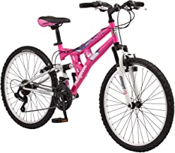 Mongoose Exlipse Full Dual-Suspension Mountain Bike for Kids, Featuring 15-Inch/Small Steel Frame...