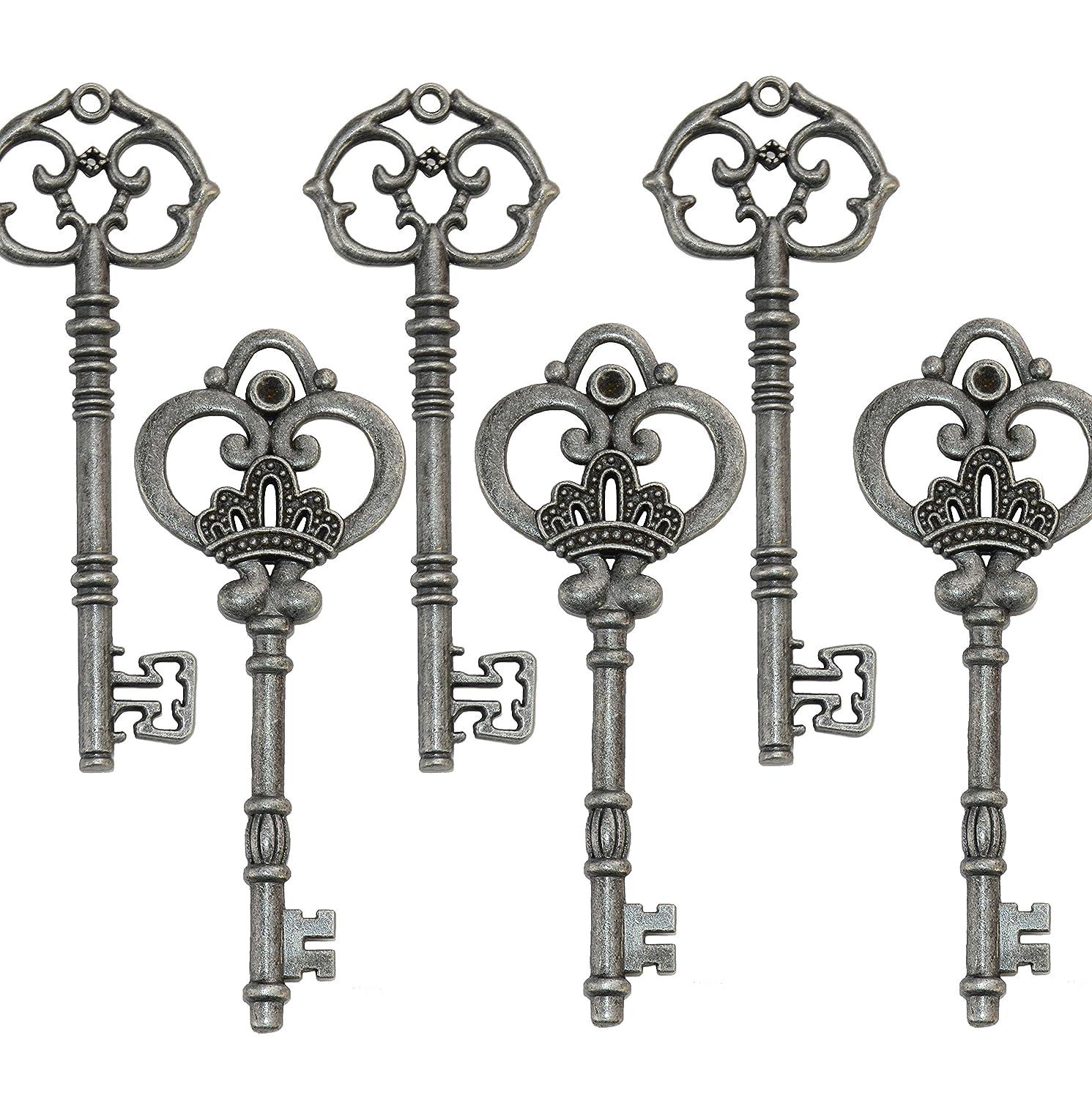 Mixed Set of 20 Extra Large Antique Pewter Skeleton Keys in Retro Rustic Style - Set of 20 Keys (Antique Pewter)
